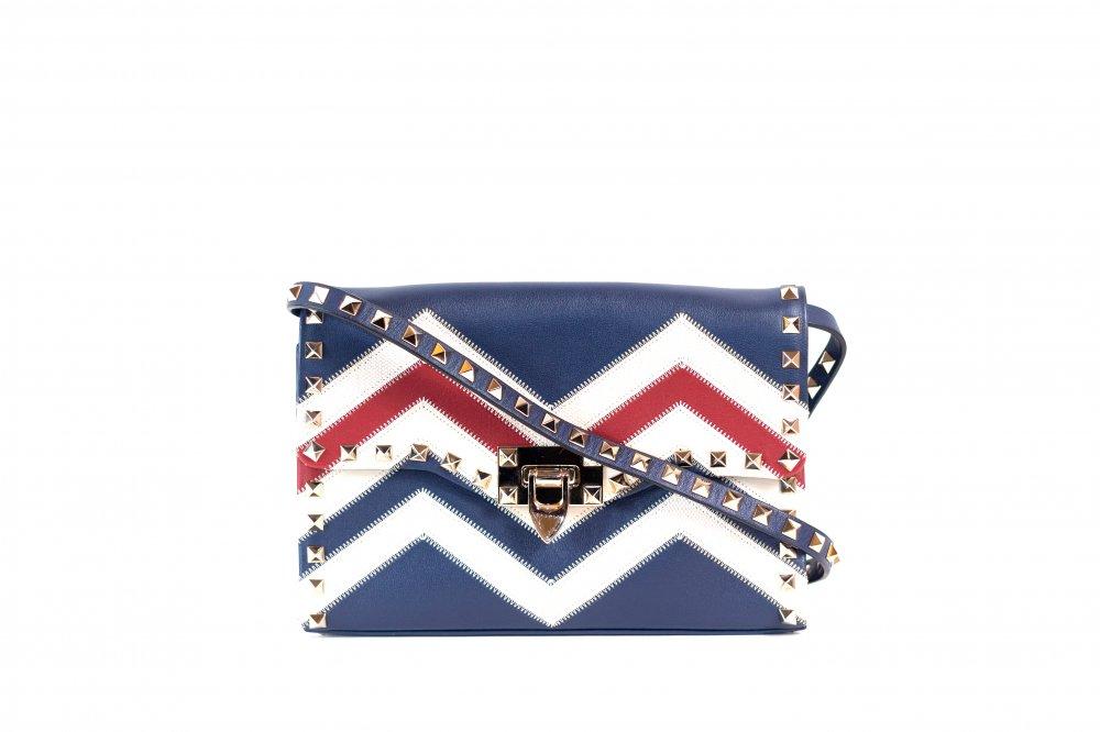 Calfskin Zig Zag Print Rockstud Flip Lock Crossbody Bag Red Blue White