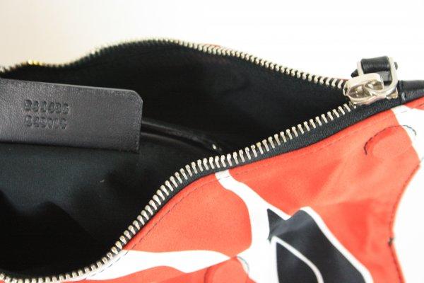 Silk Flower De Manta Black White Red Satin Leather Clutch