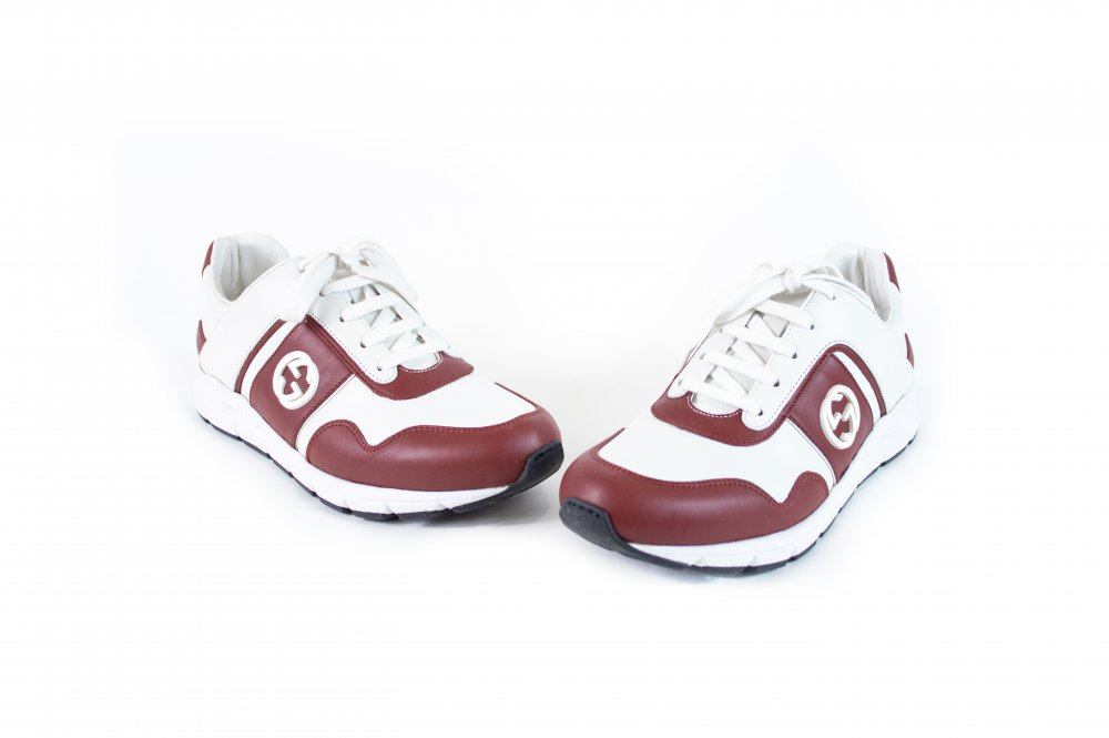 Red & White lace up sneakers 37.5