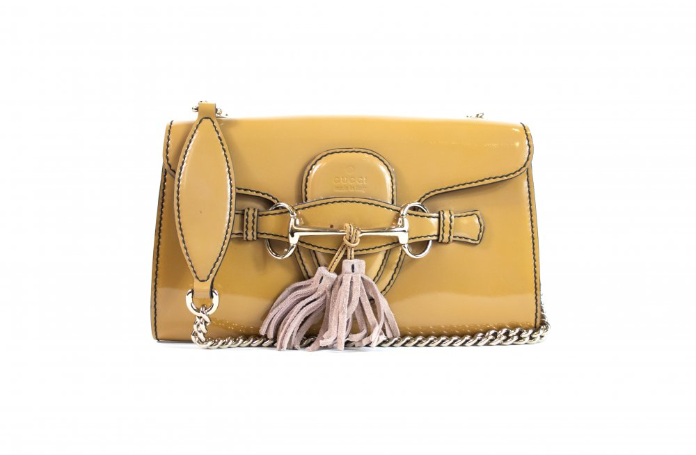 Chain Emily Small  Brown Patent Leather Shoulder Bag
