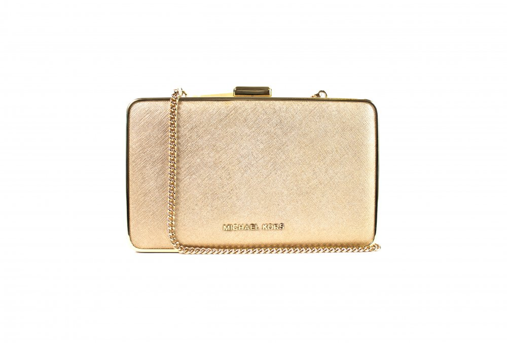 Box Golden Leather Clutch Sling