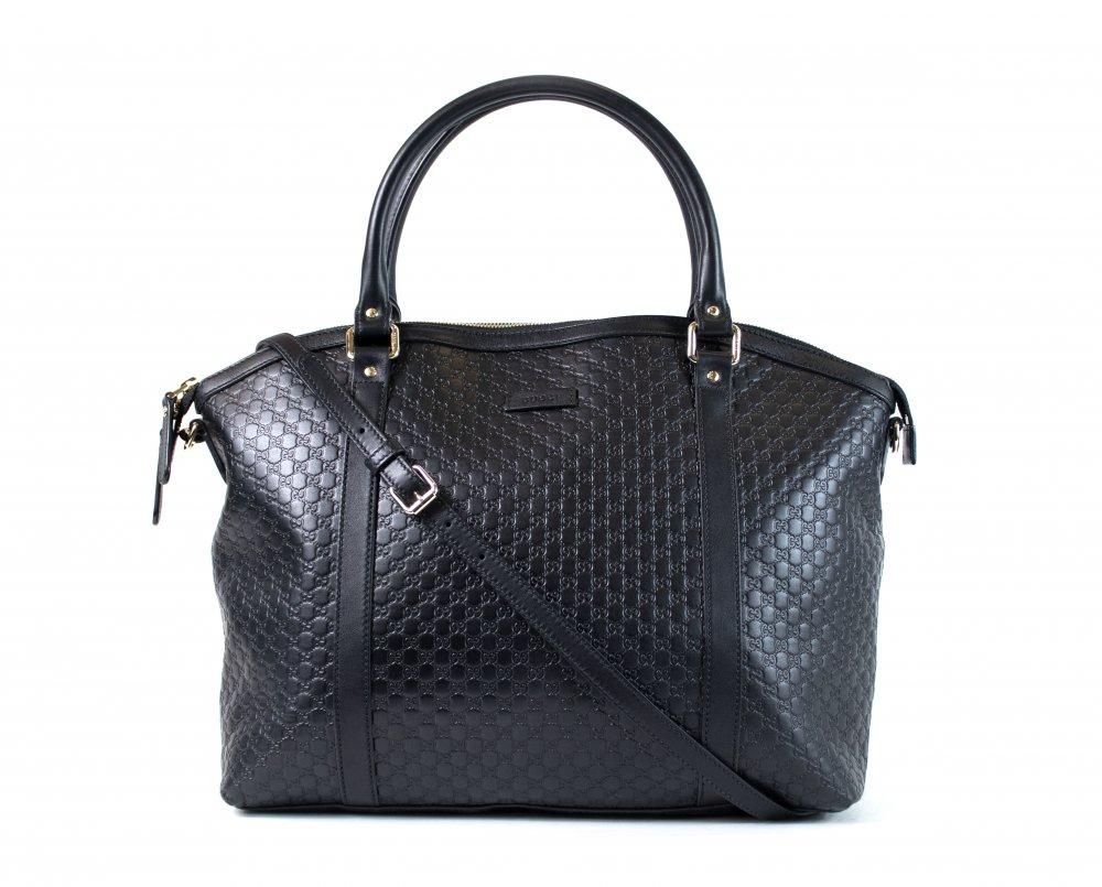 Black Microguccissima Leather Dome Large Bag