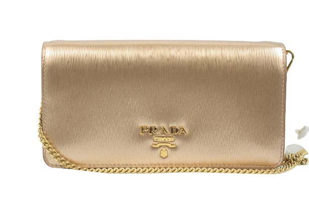 Gold Saffiano Lux Leather Long Flap Wallet