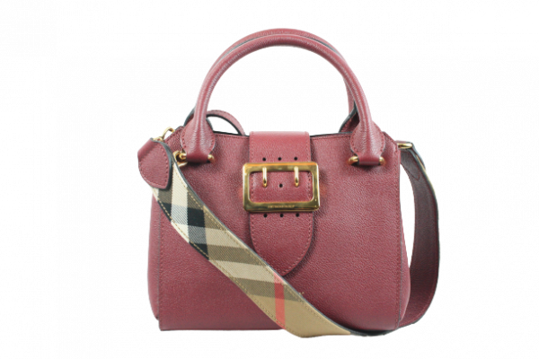 Red Grainy Leather Small Buckle Tote