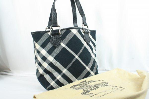 Black Canvas Fabric Plaid Tote Bag