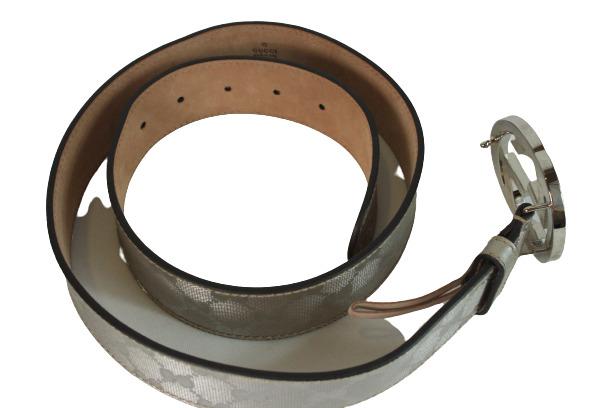 Silver Logo Print Belt