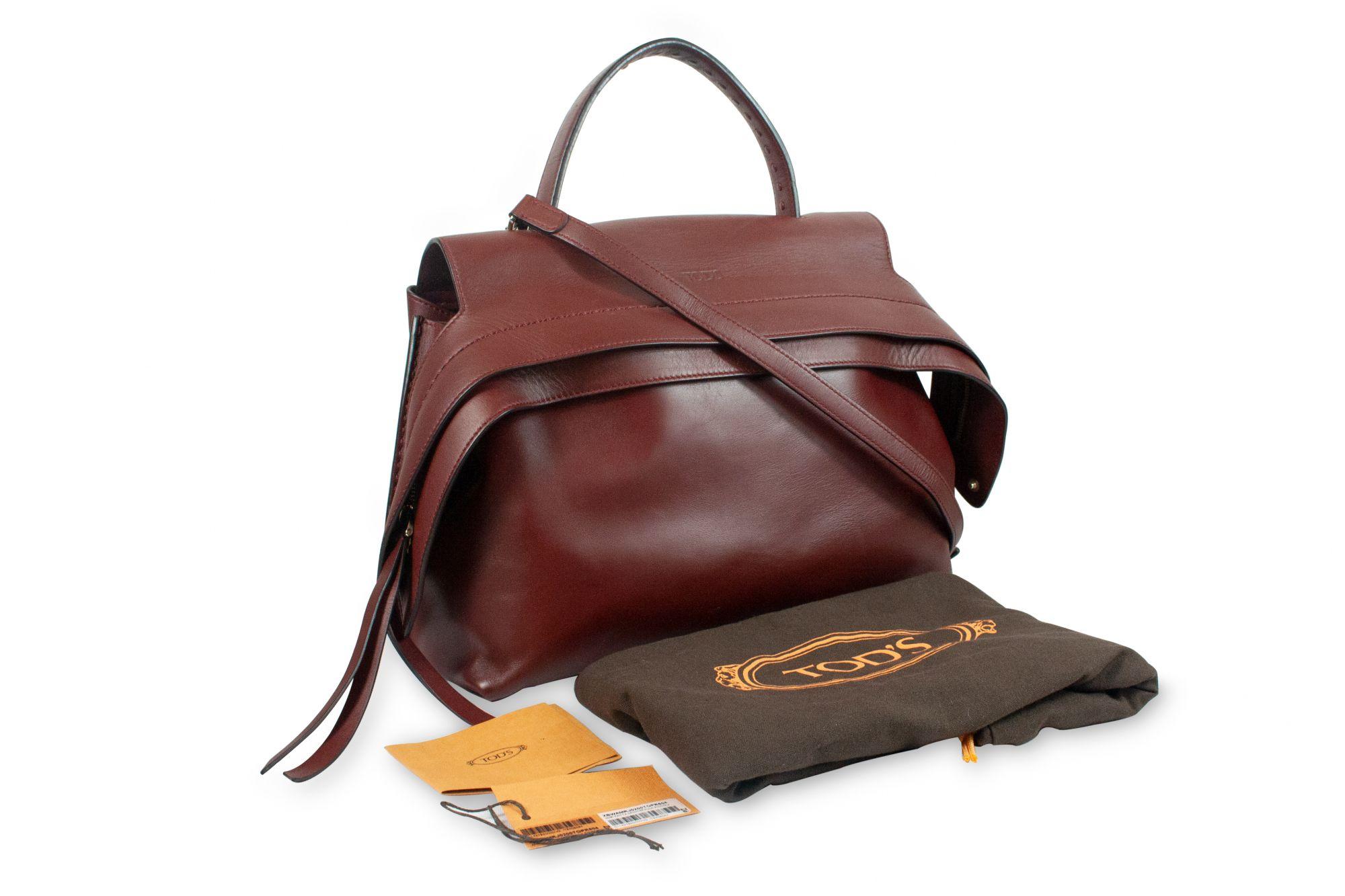 Maroon Leather Wave Top Handle Shoulder Bag