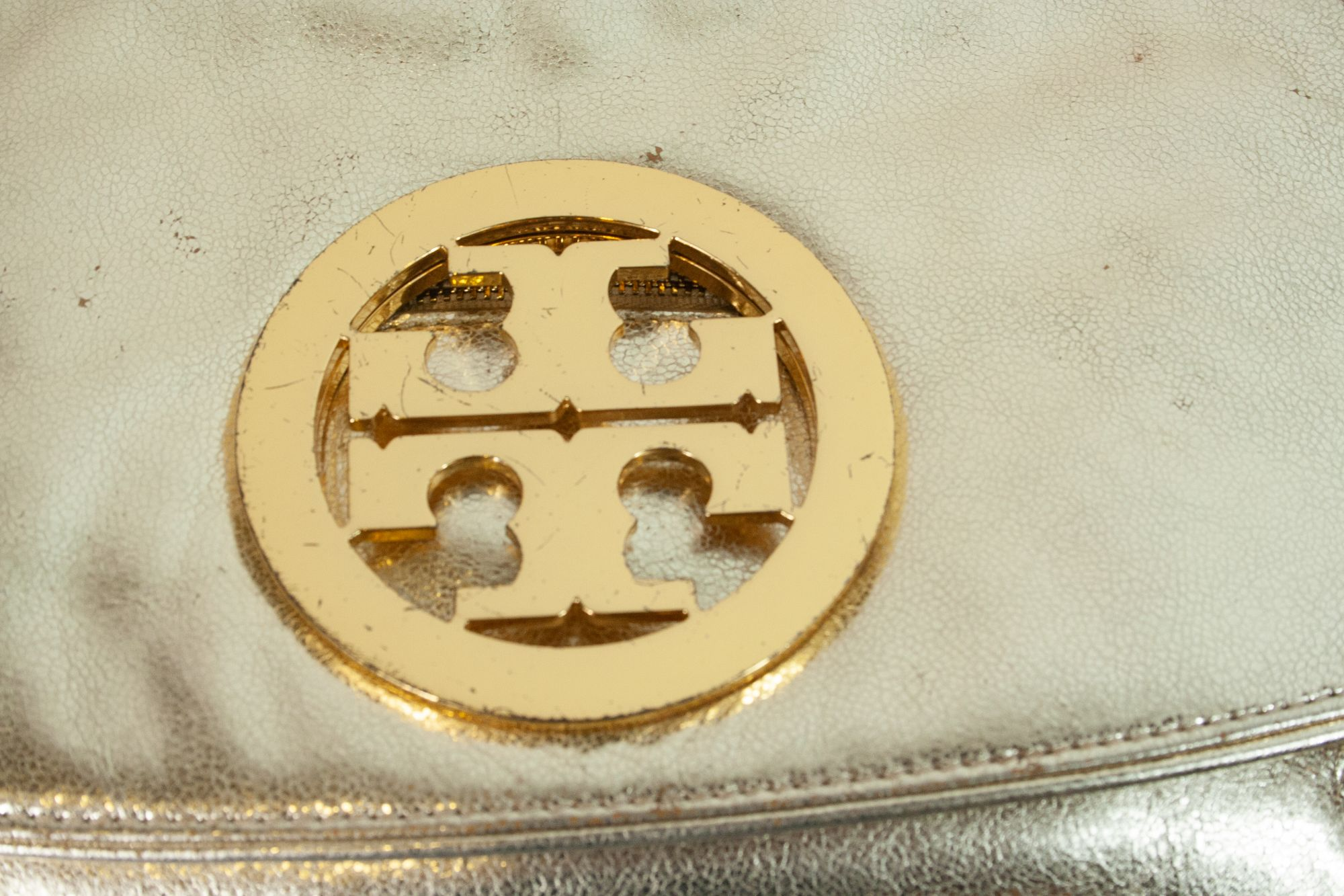 Metallic Golden Logo Clutch