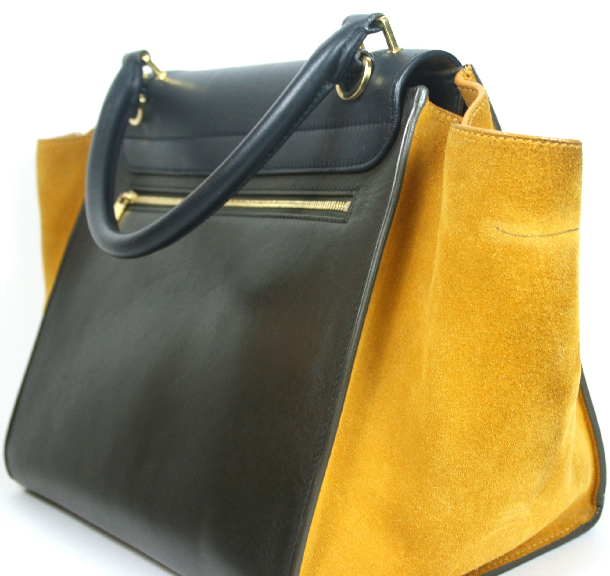 Tricolor Leather and Suede Medium Trapeze Bag