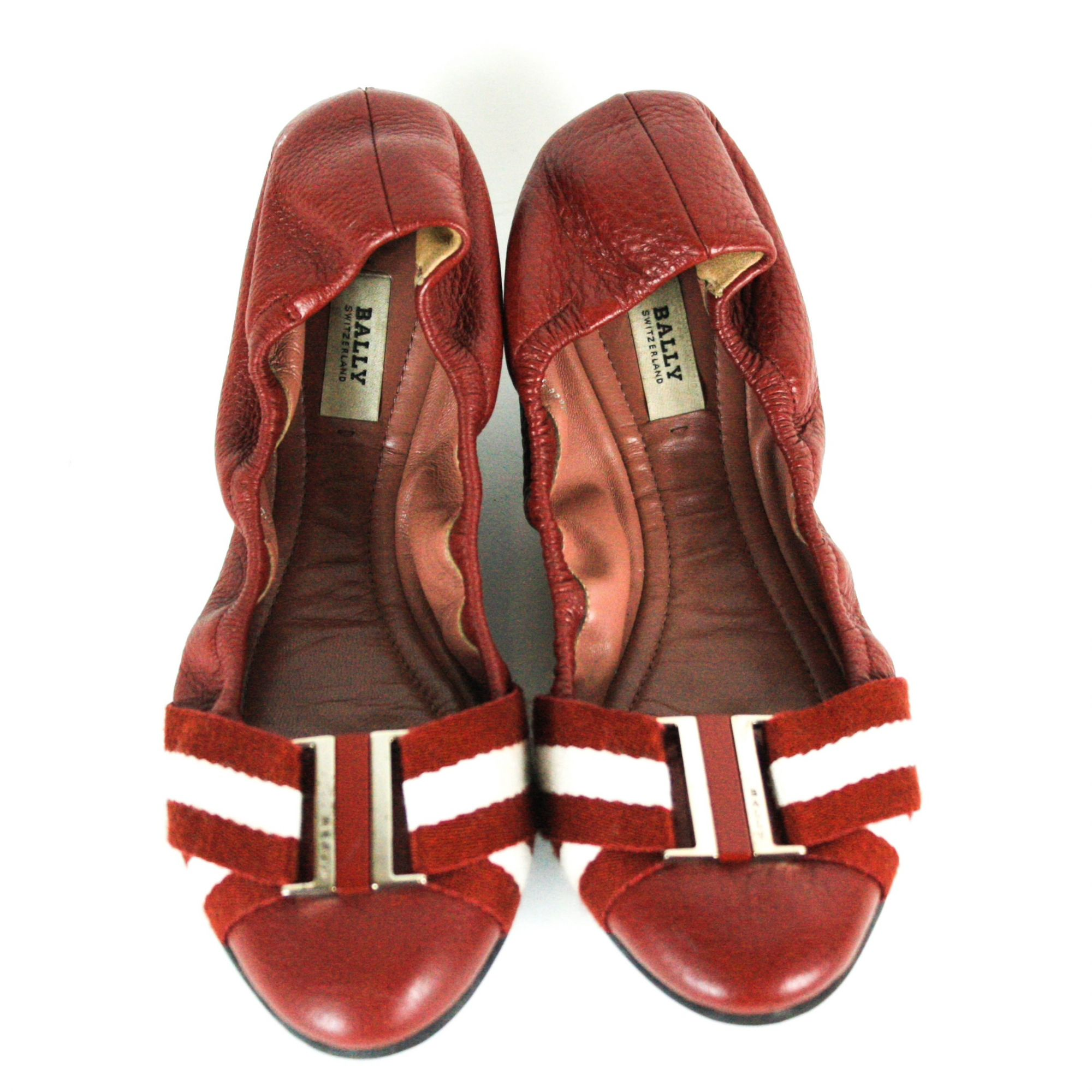 Maroon Tippy Striped Strap Ruched Leather Ballet Flats (Size: 37)