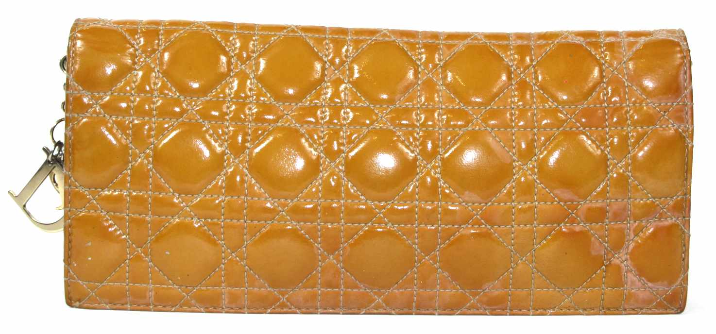 Patent Quilted Cannage Leather Lady Dior Clutch