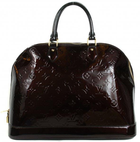 Alma Vernis Monogram Embossed Patent Leather Handbag
