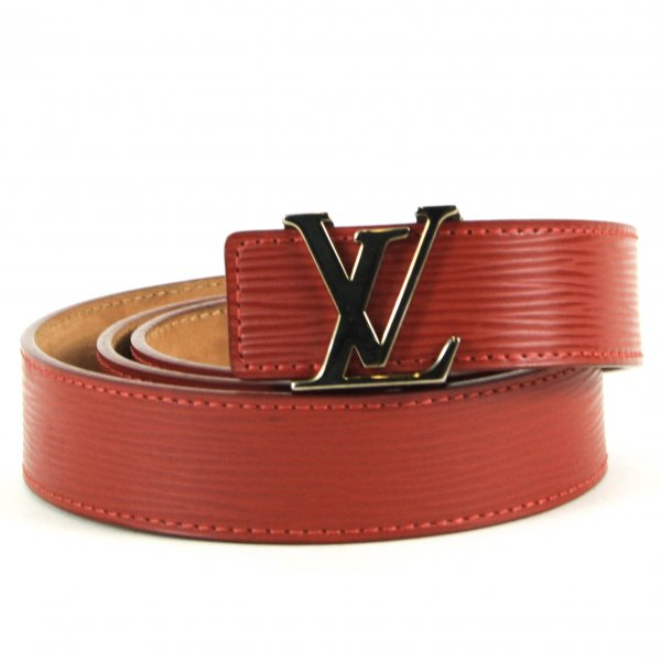 Red Leather Buckled Belt Size 36