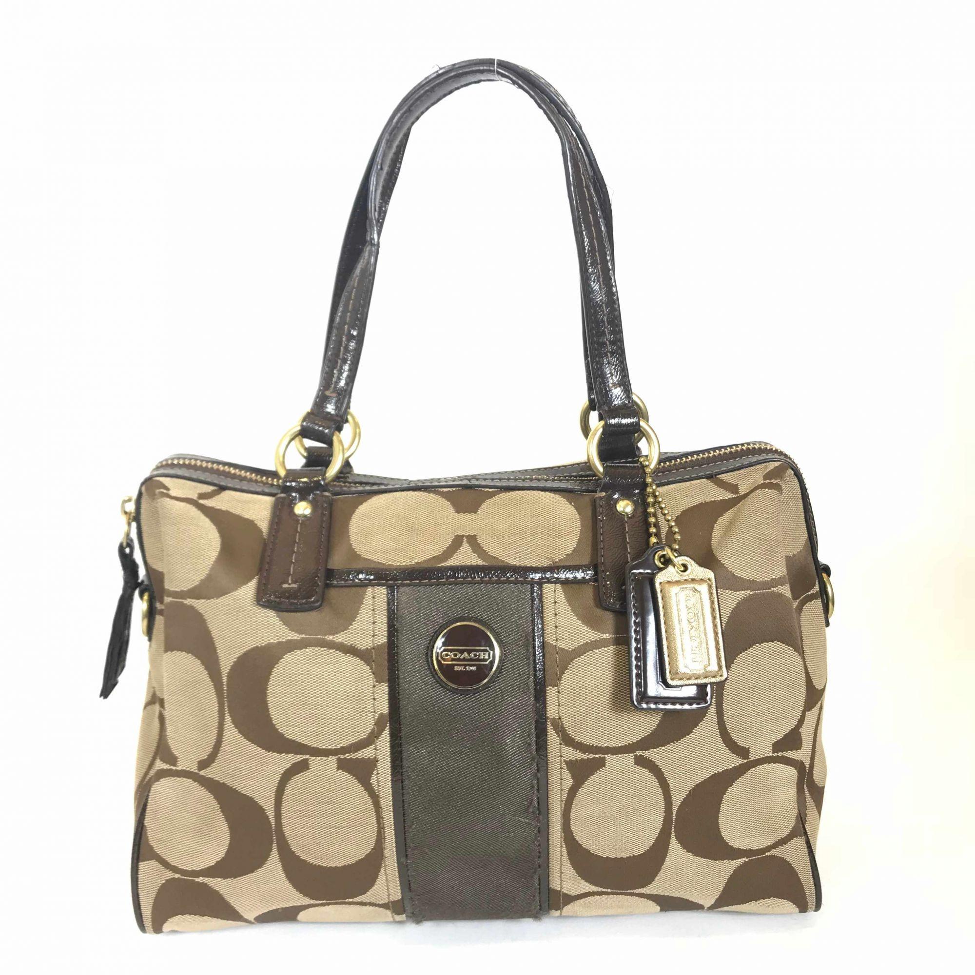 Monogram Dark Brown Leather Canvas Bag