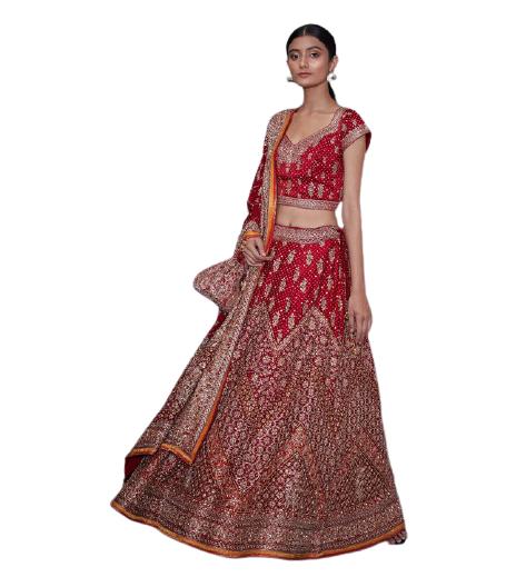 Red embroidered bridal lehenga set - M