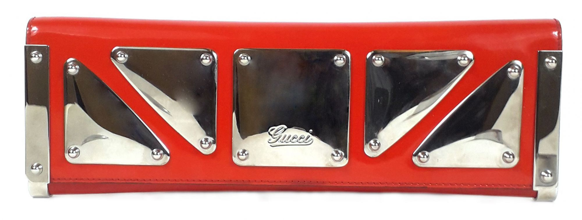 Red Suede and Patent Leather Clutch