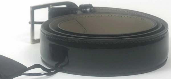Versace Black Patent Belt Size 85