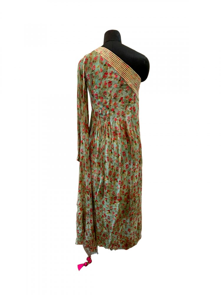Green Off Shoulder Printed Dress Small