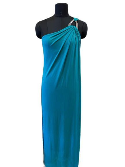 One-Shoulder Triangle Hardware Maxi Dress - S