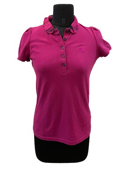 Brit Women's Dark Pink Cotton Nova Check Polo Shirt - S