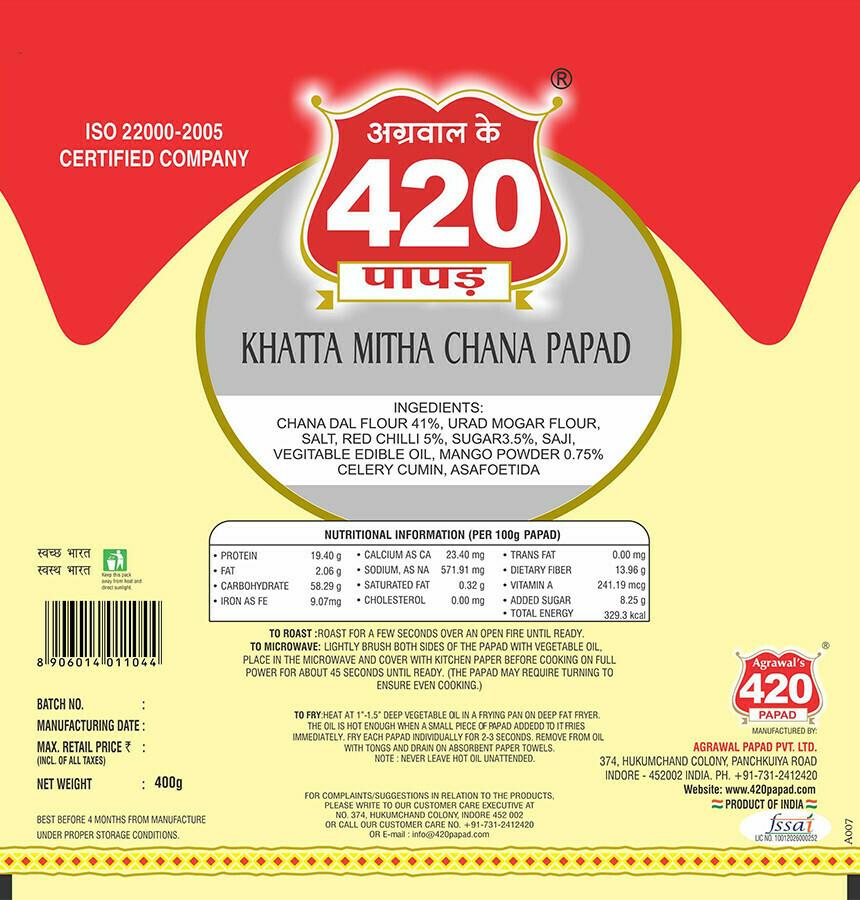 420 Khattha Mitha Chana Papad (Premium )