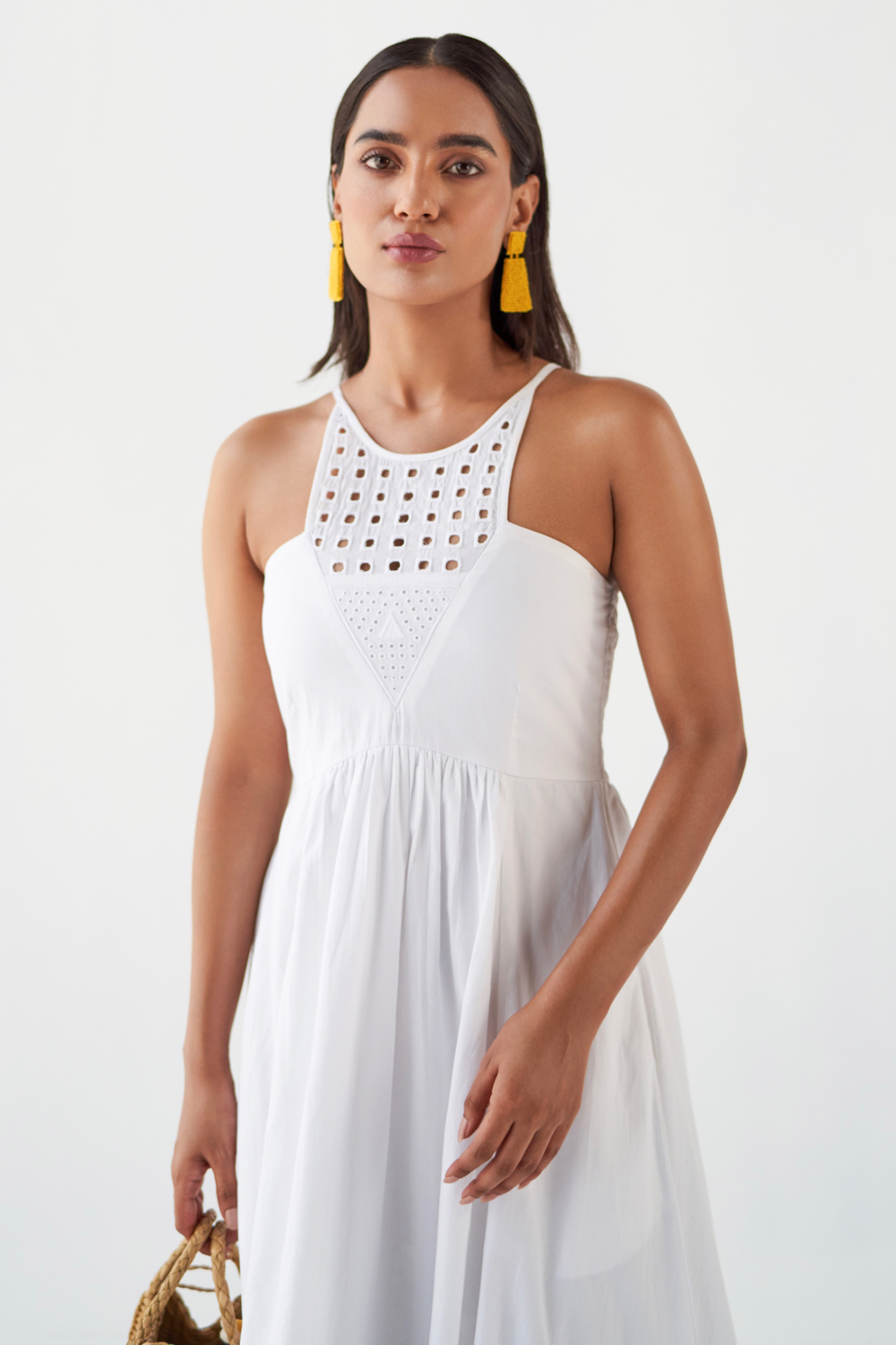MARRAKESH WHITE FINE COTTON FABRIC ANKLE LENGTH SLEEVELESS DRESS WITH EMBROIDERED NECK AND POCKETS