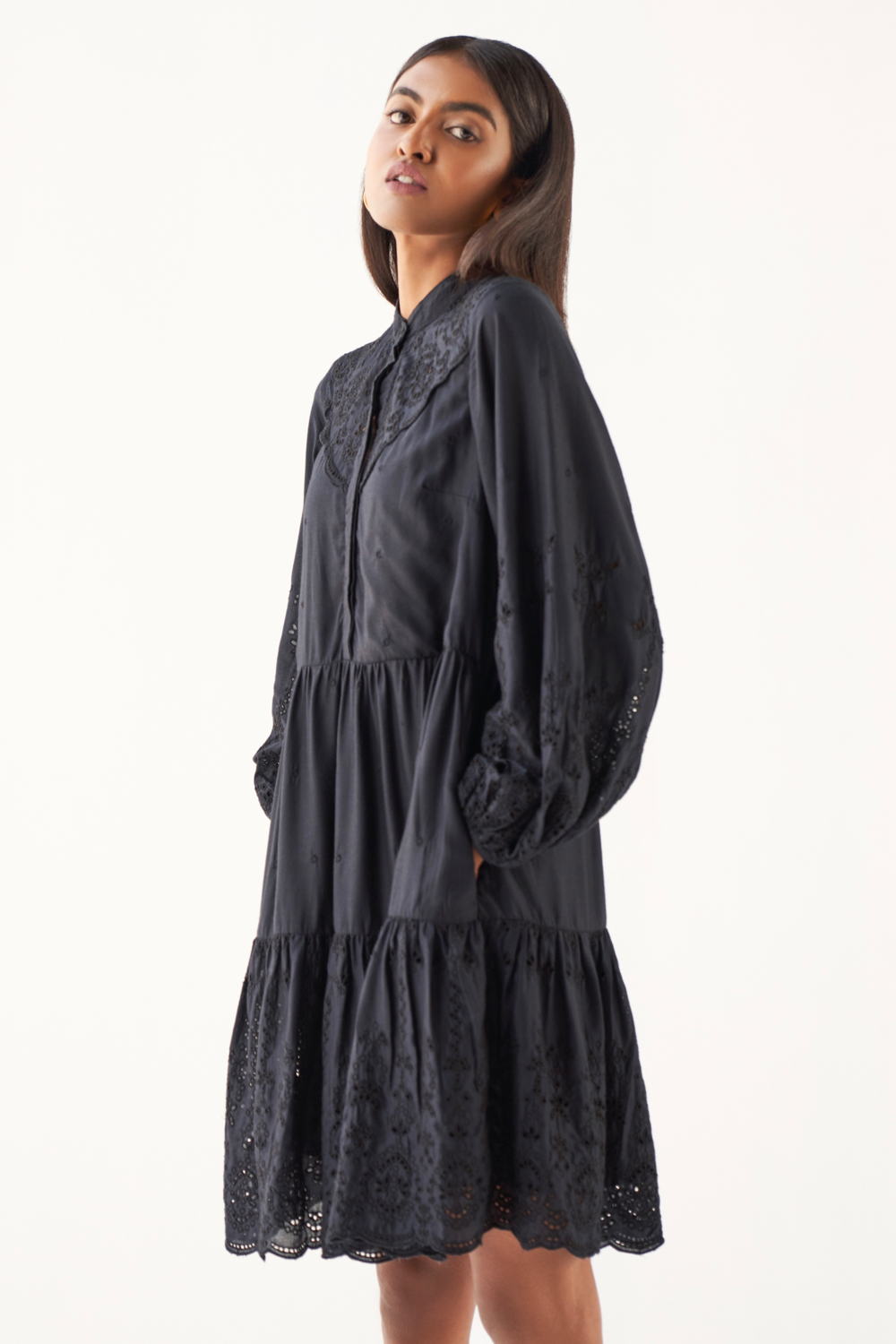 MARRAKESH SOLID BLACK RAYON FABRIC SCHIFFLI EMBROIDERY KNEE LENGTH DRESS WITH FULL SLEEVES