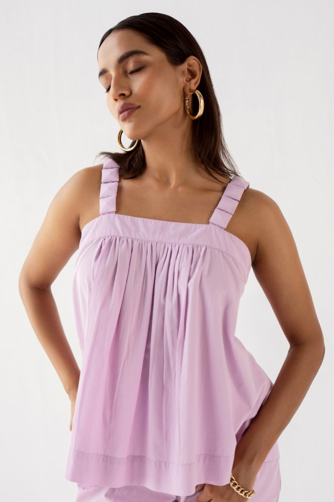 MARRAKESH SOLID LILAC COTTON POPLIN SLEEVELESS TOP WITH FABRIC COVERED STONE STARPS