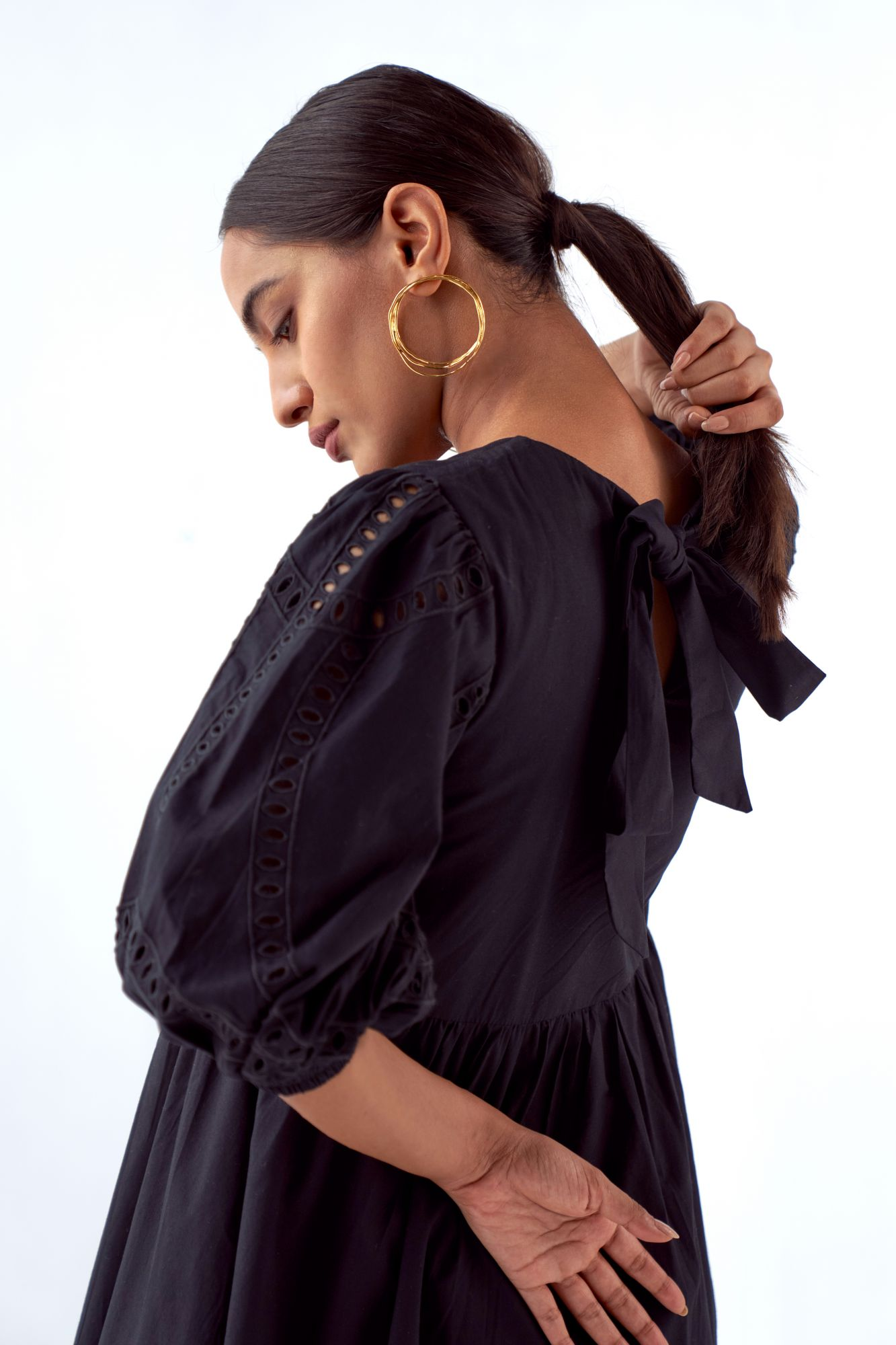 MARRAKESH BLACK COTTON POPLIN KNEE LENGTH DRESS WITH ELBOW LENGTH EMBROIDERED SLEEVES