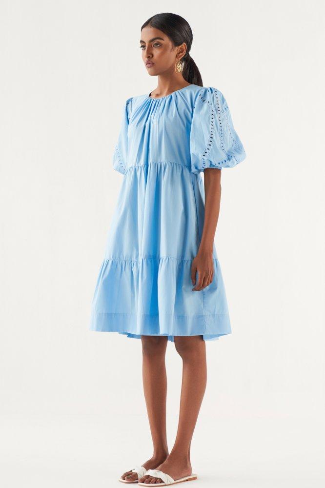 MARRAKESH LIGHT BLUE COTTON POPLIN EMBROIDERED SLEEVE KNEE LENGTH DRESS