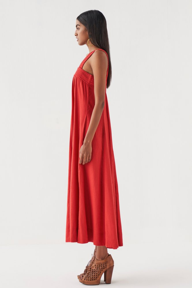 MARRAKESH BRICK RED COLOUR LINEN ANKLE LENGTH SLEEVELESS DRESS WITH BRAIDED NECK AND POCKETS