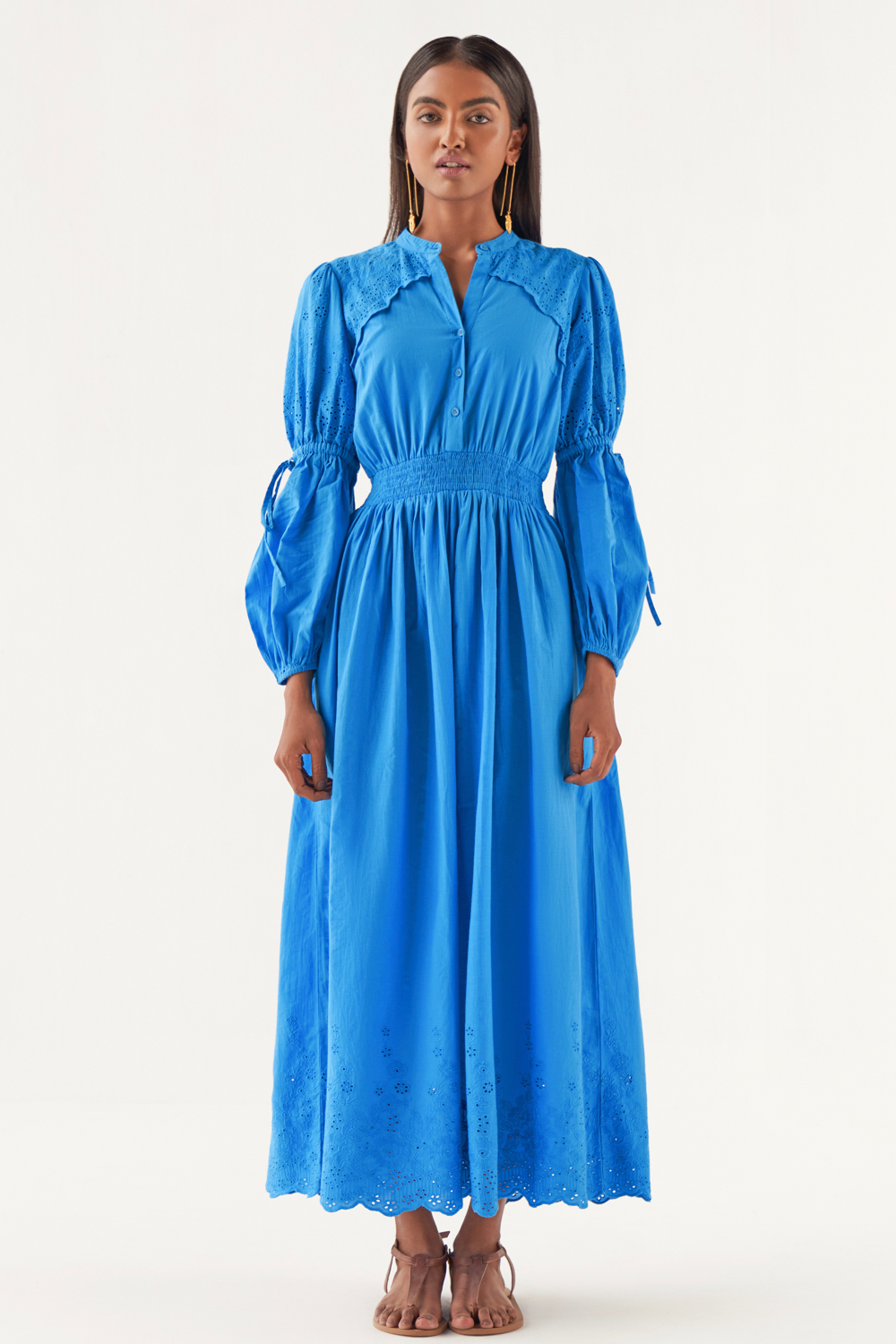 MARRAKESH COBALT BLUE  COTTON SCHIFFLI ANKLE LENGTH DRESS WITH FULL LENGTH SLEEVES AND POCKETS