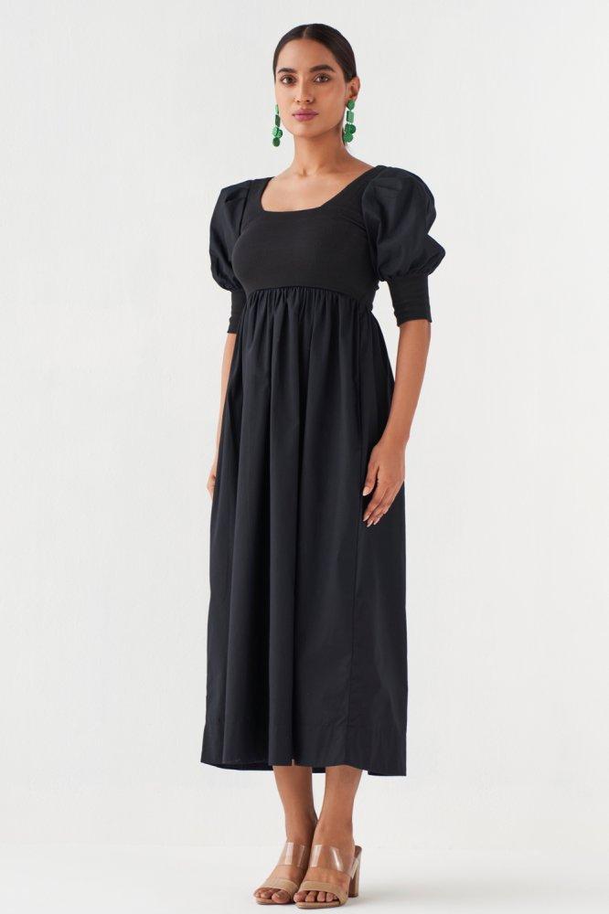 MARRAKESH BLACK COTTON POPLIN MIDI LENGTH DRESS WITH SLEEVES AND RIB FABRIC BODY