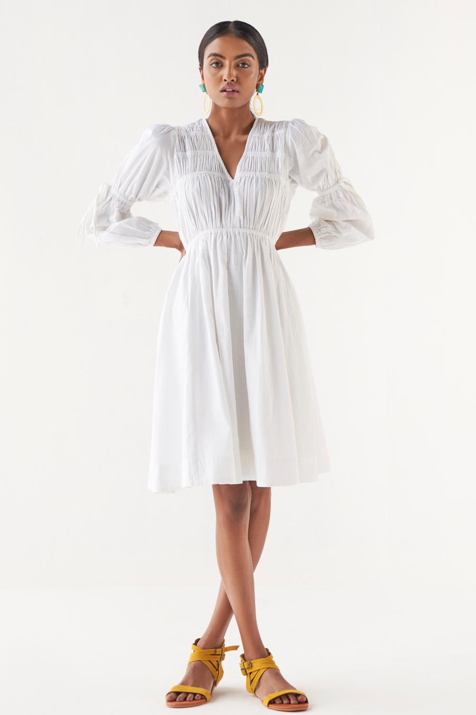 MARRAKESH WHITE SEERSUCKER SELF STRIPE COTTON FABRIC KNEE LENGTH DRESS WITH FULL SLEEVES AND ELASTICAED WAIST