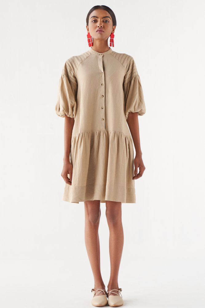 MARRAKESH SOLID BEIGE COLOUR LINEN FABRIC KNEE LENGTH 3/4TH SLEEVES DRESS WITH EMBROIDERED SHOULDERS