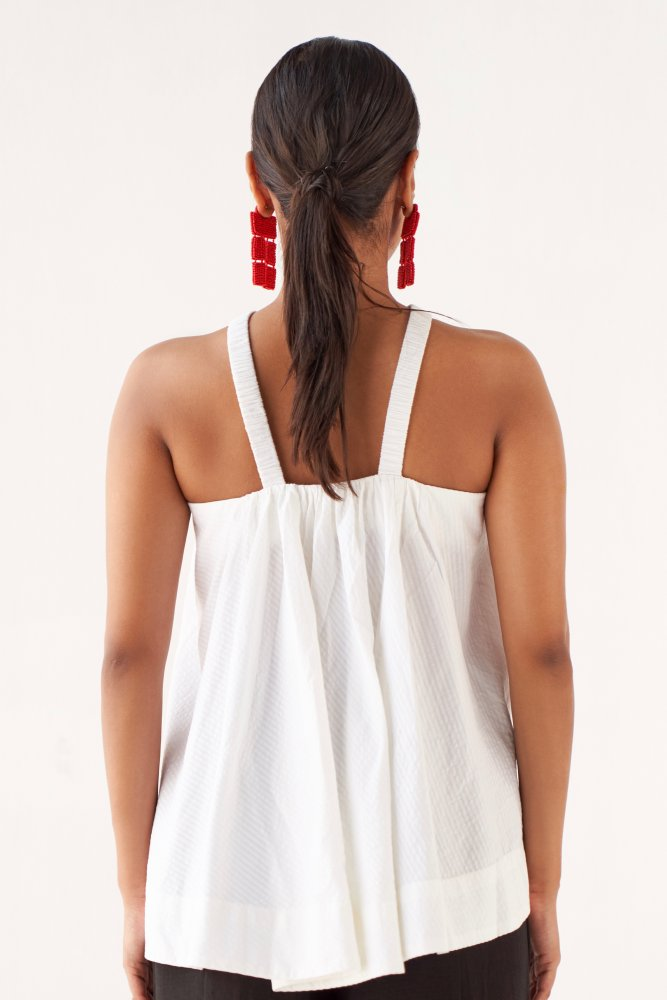 MARRAKESH SOLID WHITE SEERSUCKER SELF STRIPES COTTON FABRIC FLARED TOP WITH ELASTIC STRAPS
