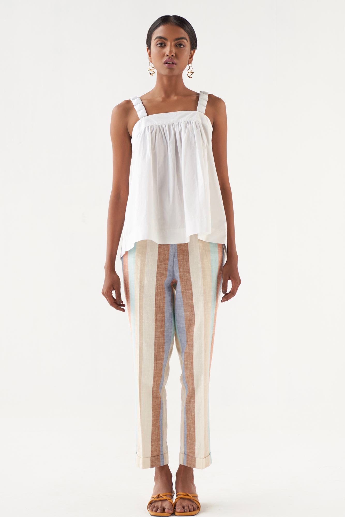 MARRAKESH SOLID WHITE COTTON POPLIN FABRIC TOP WITH FABRIC COVERED STONE STRAPS