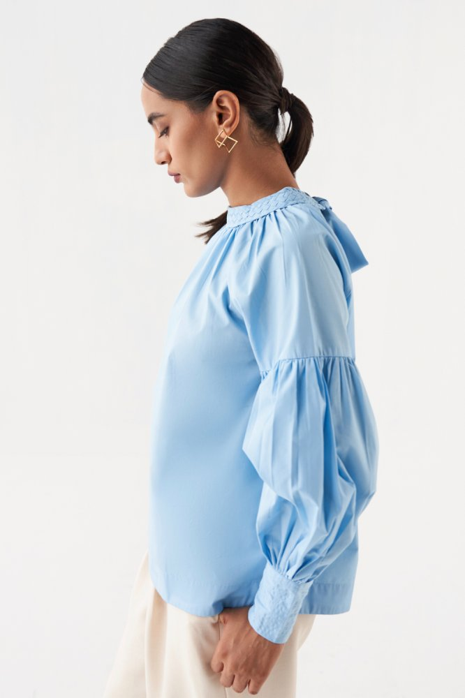 MARRAKESH LIGHT BLUE COTTON POPLIN TOP WITH FULL SLEEVES AND BRAIDED NECK