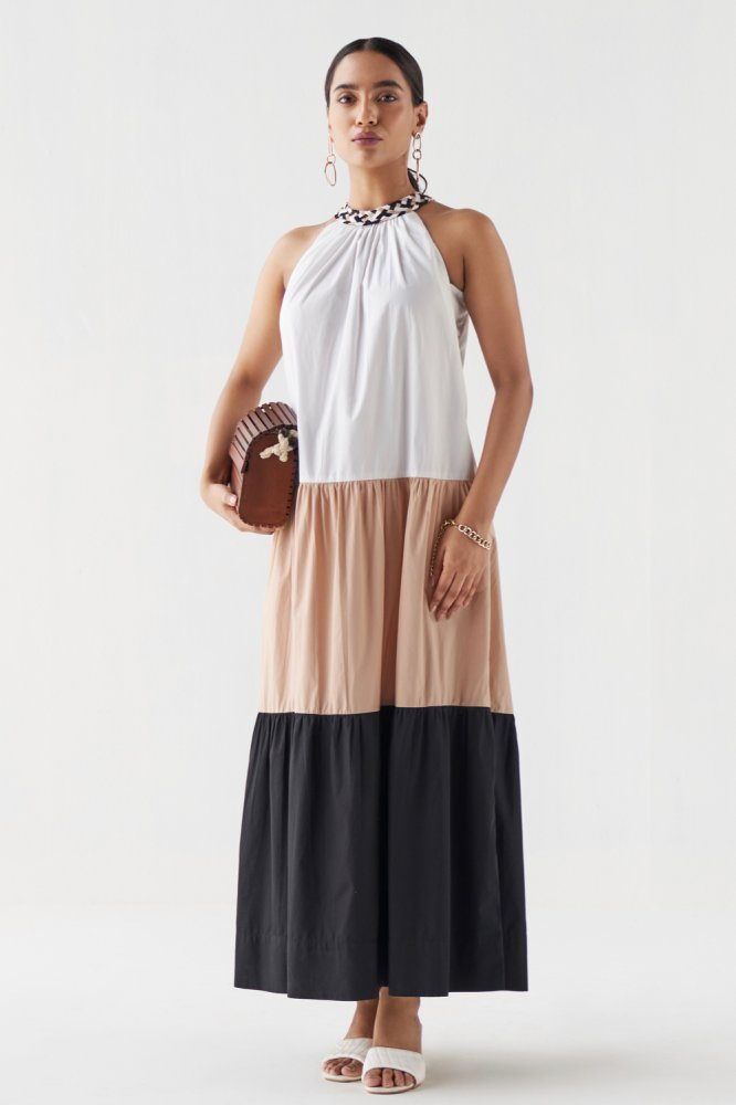 MARRAKESH COLOUR BLOCK ANKLE LENGTH  SLEEVELESS BRAIDED NECK DRESS WITH POCKETS