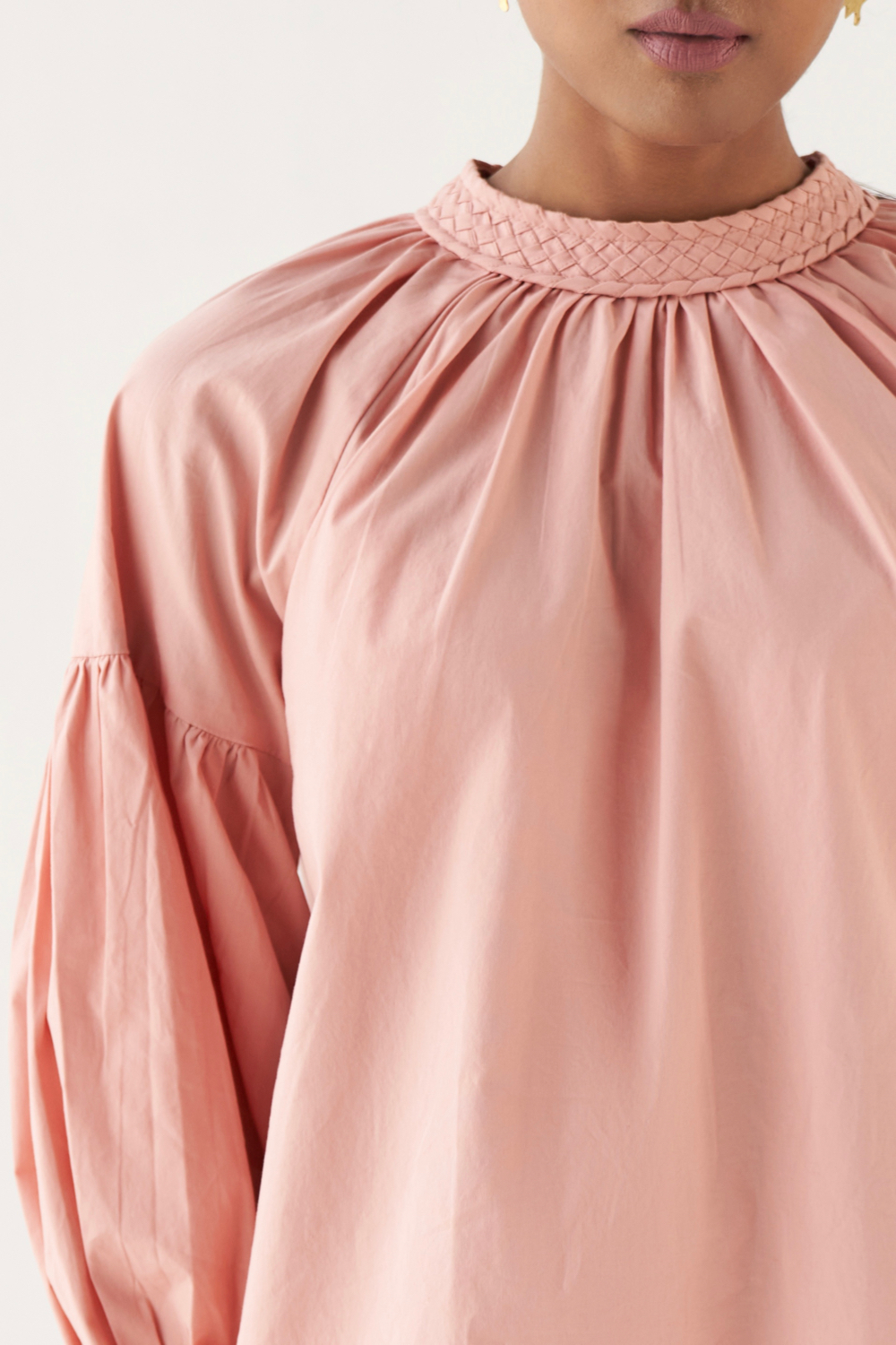 MARRAKESH SOLID PINK COTTON POPLIN FABRIC TOP WITH FULL LENGTH SLEEVES AND BRAIDED NECK