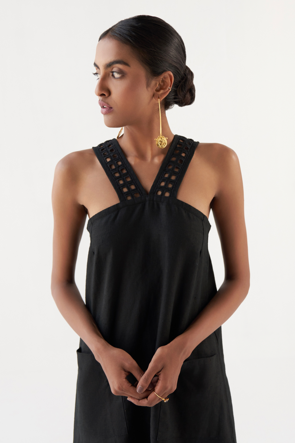 MARRAKESH BLACK EMBROIDERED NECK STRAPS LINEN TUNIC WITH PANTS CO-ORDINATE