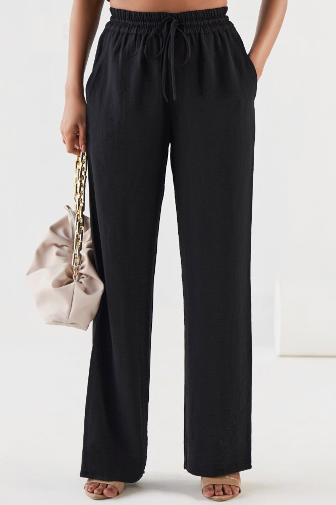 BLACK BARCELONA  ELASTICATED WAIST CASUAL FULL LENGTH RELAXED FIT PANTS WITH POCKETS
