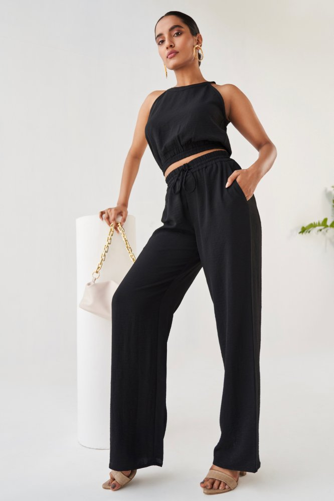 BARCELONA BLACK COLOUR CASUAL CROP TOP AND ELASTICATED WAIST PANT CO-ORDINATE