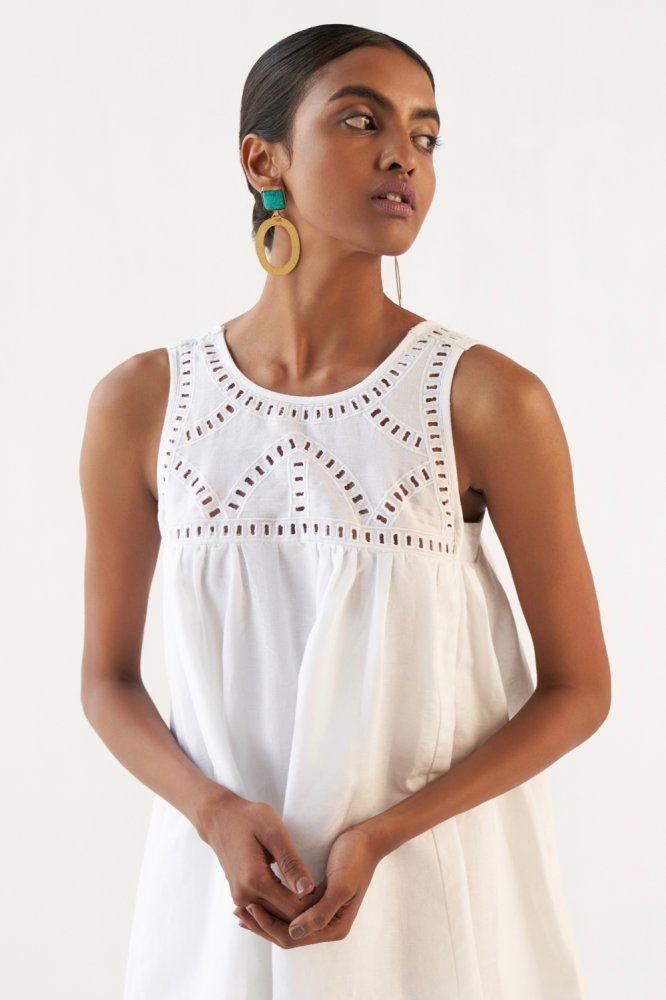 MARRAKESH WHITE LINEN SLEEVELESS KNEE LENGTH DRESS WITH EMBROIDERED YOKE AND BACK STRAPS