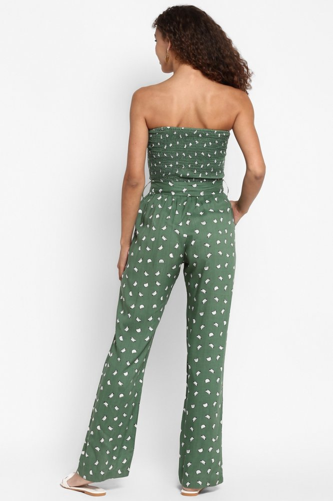 MEO GREEN RAYON ALL OVER PRINT FULL LENGTH OFF SHOULDER JUMPSUIT WITH SASH AND POCKETS