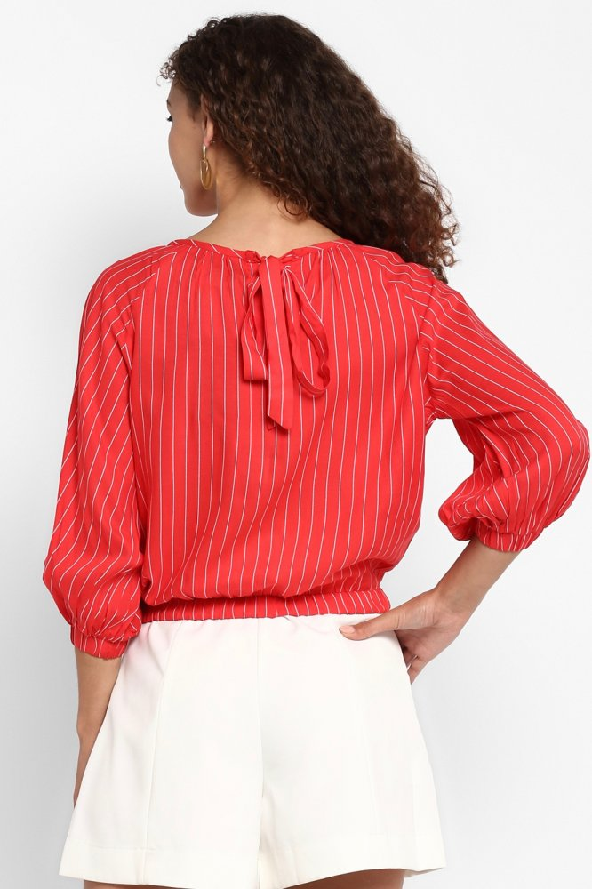 BARCELONA RED RAYON STRIPE CASUAL CROP TOP WITH 3/4TH LENGTH SLEEVES