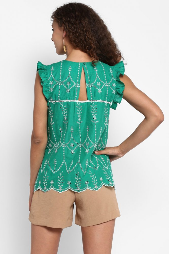 CALANGUTE GREEN COTTON SCHIFFLI EMBROIDERY BOHO TOP WITH SMALL FRILL CAP SLEEVES