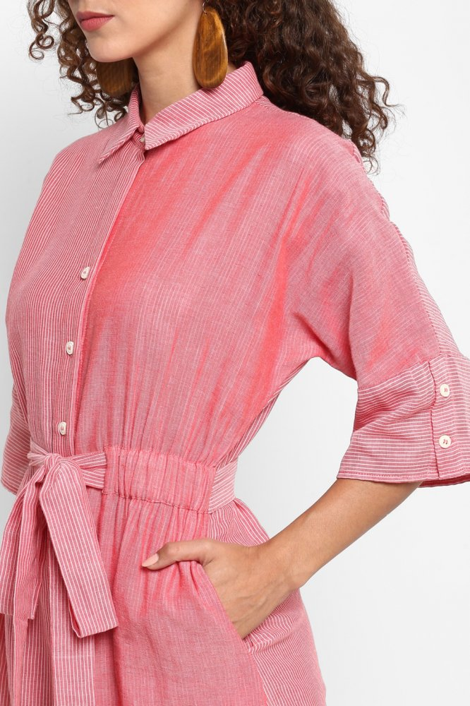 PONDICHERRY SEA CORAL STRIPES CHAMBRAY CALF LENGTH SHIRT DRESS WITH 3/4TH SLEEVES