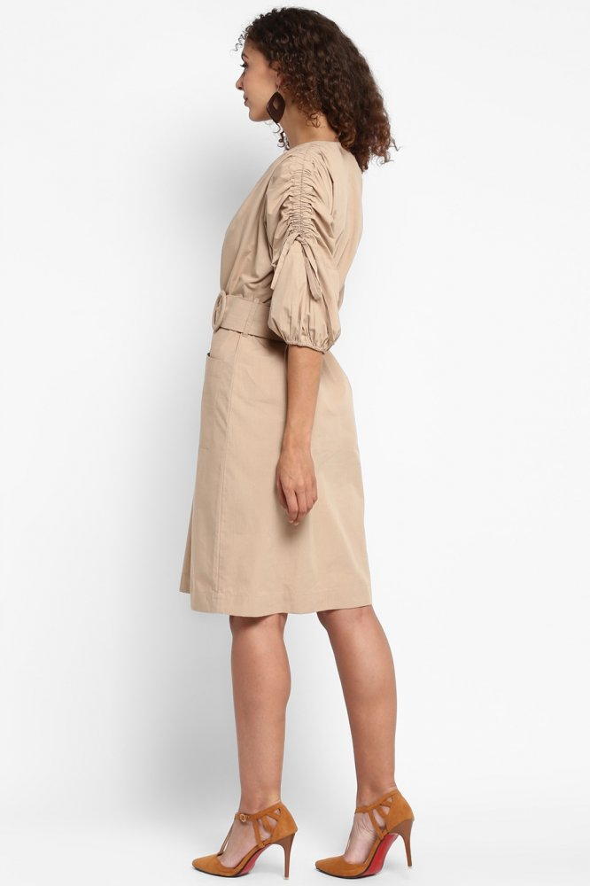 FAWN COTTON KNEE LENGTH BELTED DRESS WITH 3/4TH SLEEVES AND FRONT BUTTON OPENING