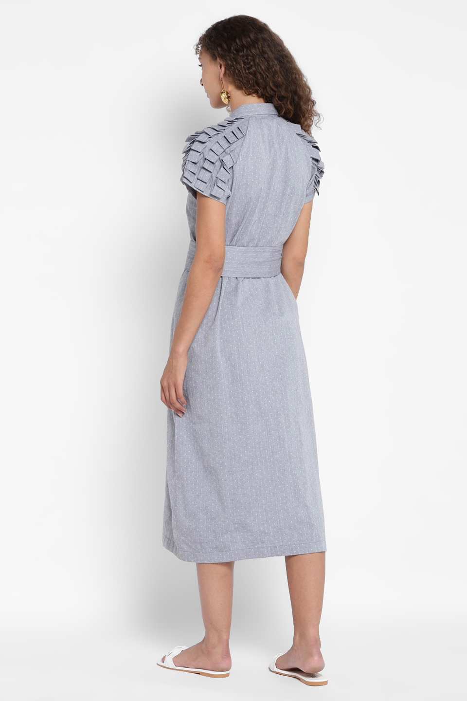 AMALDA DUSTY BLUE CALF LENGTH COLLARED SHIRT DRESS WITH SHORT SLEEVES AND BELT